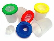 4 x NON SPILL WATER POTS, LID & STOPPERS ARTIST PAINT BRUSH HOLDER