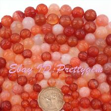 "Natural Carnelian Agate Multicolor Round Carved Gemstone Beads 15"" 8,10,12mm"