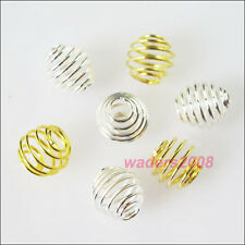 50 New Charms Gold Silver Plated Lantern Spring Cages Spacer Beads 8mm