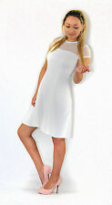 New Ladies River Island White Ribbed Skater Dress Size 6-16 Lace Top Party