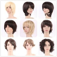 Sexy Short Hair Costume Full Wig Natural Synthetic Curly Straight Brown Blond Wi
