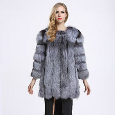Vogue Real Whole Skin Silver Fox Fur Hook Jacket Thick Coat Women Outwear C0059
