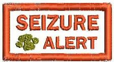Seizure Alert Service Dog Patch Rectangle Small Working Dog White Black Patch