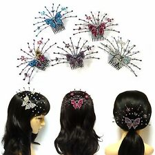 Big Large Metal Butterfly Hair Jewelry Crystal Rhinestone Comb Clip Pin Party