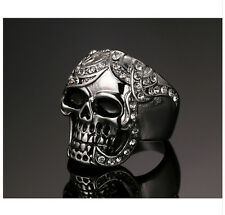 WOMEN'S STAINLESS STEEL HUMAN SKULL DEMON SCULPTURE AWESOME SKELETON CLAW RING
