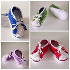 Handmade Crochet Knitted Newborn up to 6 months Baby Sport Booties Shoes Cotton