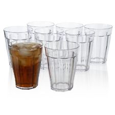 Plastic Drinking Glasses 8 Piece Cup Set 12 Oz Clear Multi Color Water Tumblers