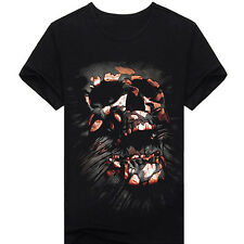 Deluxe Men's Short Sleeve Creative Skull Digital O-neck 3D Print T-Shirt Top