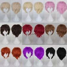 Anime Short Straight Curly Full Head Wig Cosplay Party Fancy Dress Unisex Wig E3