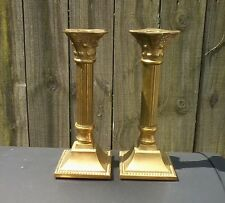 """Pair of Vintage Heavy Brass  Pillar Taper Candle Holders """"India"""""""