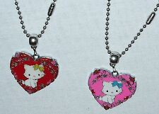 Hello Kitty Heart Necklace Stainless Ball Steel Chain and/or Earrings Handmade