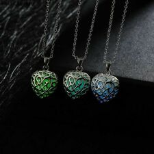 High Quality Heart Necklace Fashion Noctilucent Silver Plated Hollow 28x17mm