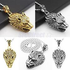 Hot Punk Stainless Steel Cool Wolf's Head Pendant Necklace Jewelry