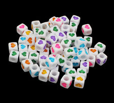 100 to 1000 White & Coloured Mixed Heart Cube Beads 6mm