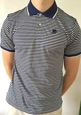 Banana Republic Polo Shirt Blue Navy White Striped Short Sleeve Slim Muscle Fit