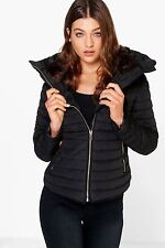 Womens Quilted Padded Jacket Hooded Gold Fur Collar Warm Thick Coat UK S-XL