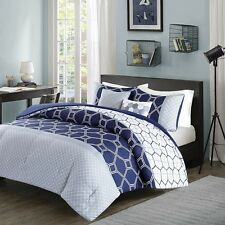 Modern Deep Navy Blue & White Geometric Comforter Shams with Decorative Pillows