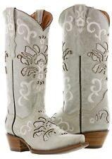 Womens marble white cowboy cowgirl western wear leather cowboy boots snip toe