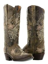 Womens Distressed Brown Leather Western Cowboy Cowgirl Boots Flower Snip Toe New