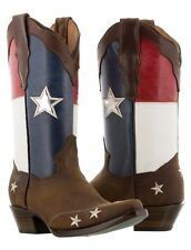 Women's Texas Flag Cowboy Boots Handmade Real Leather Brown Western Snip Toe