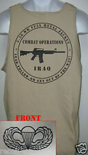 AIRBORNE tank top T-SHIRT/ tan color/ IRAQ COMBAT OPS  / MILITARY/   NEW