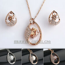 Fashion Solitaire Earrings & Necklace Jewelry Set 18KGP Crystal Rhinestone