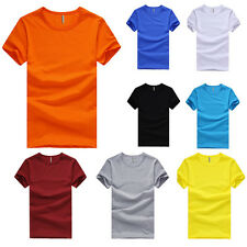 Mens Plain T Shirts Solid Cotton Crew-Neck Short Sleeve Blank Tee Top Shirts