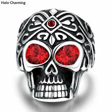 Top Quality Skull Head Rings 316L Stainless Steel Men Fashion Jewelry Red Zircon