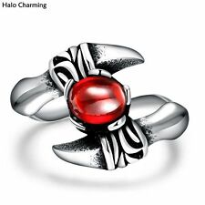 Top Quality Men Fashion Jewelry Rings 316L Stainless Steel Red Zircon Decoration