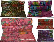 Indian Handmade Floral Throw Kantha Quilt Reversible Bedspread Twin Size Blanket