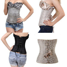 Sexy Ruffle Strapless Jacquard Lace Up Overbust Bustiers Satin Corset Top LBN