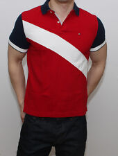 New Tommy Hilfiger Mens Classic Fit Polo T Shirt Red White Navy