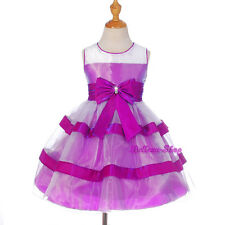 Rhinestone Stripe Purple Pageant Dress Wedding Flower Girl Party Sz 2T-10 FG291