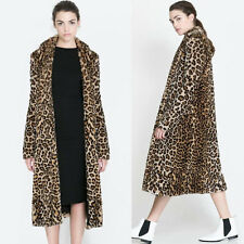Sexy Womens Faux Fur Leopard Print Jacket Winter Casual Loose Outdoor Parka Coat