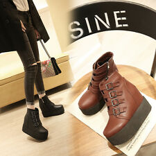 New Womens Punk Buckle High Platform Wedge Heels Gothic Emo Ankle Boots Shoes