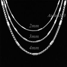 "2/3/4MM 18""~36"" MENs BOYs Silver Tube Box 316L Stainless Steel Chain Necklace"