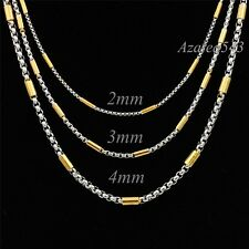 """2/3/4MM 18""""~36"""" MENs BOYs Silver/Gold Tube Box Stainless Steel Chain Necklace"""