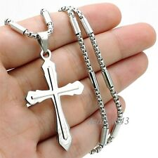 Mens Boys Silver Cross Stainless Steel Charm Pendant tube box Chain Necklace Set