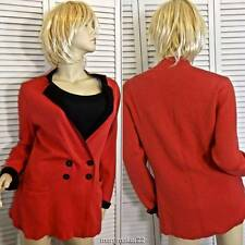 NWT ZOZO SWEATER MEDIUM RED & BLACK DOUBLE BREASTED FITTED CARDIGAN KNIT