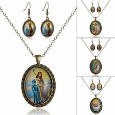 Jesus Christ Time Gem Pendant Necklace Hoop Dangle Earrings Party Jewelry Set