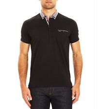 Mens Guide London Short Sleeve Black Polo Shirt Jersey Front Pocket SJ4547