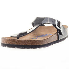 Birkenstock Gizeh Birko-flor Regular Fit Unisex Sandals Black Patent New Shoes
