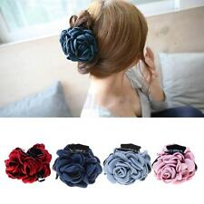 Vintage Fabric Rose Flower Large Hair Clamp Claw Clip Accessories