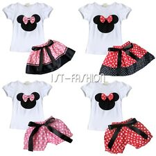 Girls baby Minnie Mouse Summer top T Shirt +Skirt Pants Dress Outfit Set Clothes
