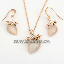 A1-S079 Fashion Simulated Opal Earrings & Necklace Jewelry Set 18KGP Crystal