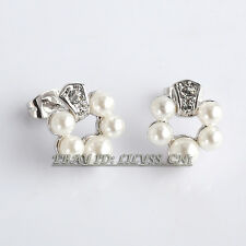 B1-E754 Fashion Flower Pearl Stud Earrings 18KGP Crystal Rhinestone