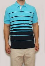 New Tommy Hilfiger Mens Classic Fit Polo T Shirt Turquoise Stripe