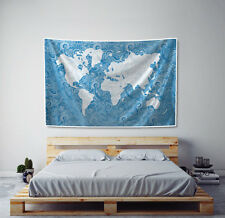 World Map Tapestry Paisley in Blue Fabric Art Print Wall Hanging