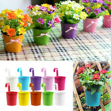 1~10X Metal Iron Hanging Balcony Garden Planter Flower Pot Home Decoration MO