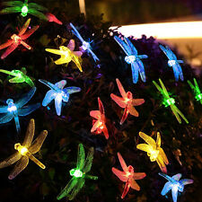Solar Powered 20LED Fairy String Light Dragonfly Outdoor Xmas Party Garden Decor